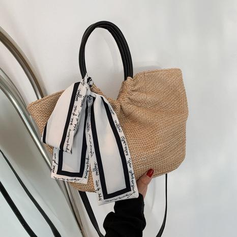bolso tejido paja de mensajero de bufanda de seda de moda NHJZ367248's discount tags