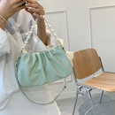 simple fashion pearl chain fold messenger shoulder armpit bag NHJZ367280