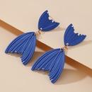 new blue fishtail irregular alloy earrings  NHGY367331
