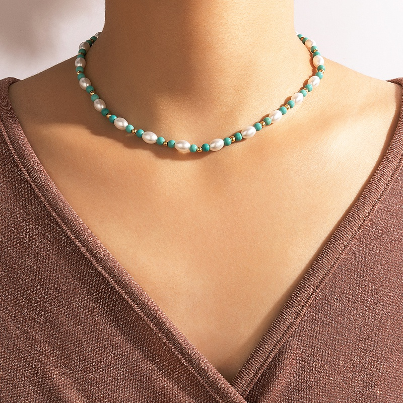 simple contrast color pearl necklace wholesale  NHGY367324