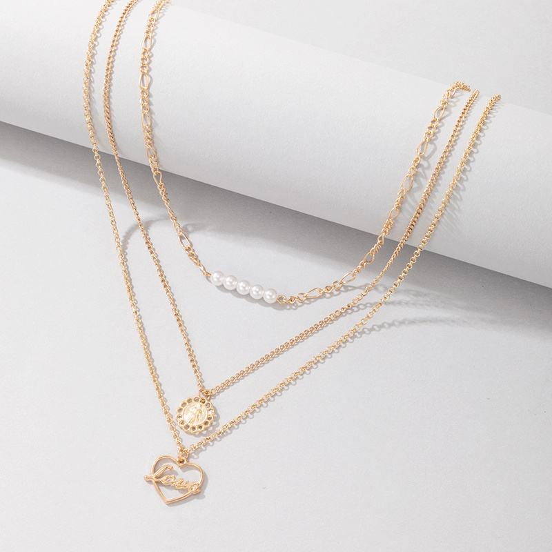 simple flower hollow heart letter pendant multilayer necklace NHGY367298