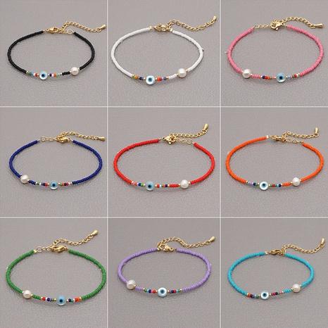 Bohemian Pearl Adjustable Handmade Beaded Eye Bracelet  Wholesale NHYUX367358's discount tags