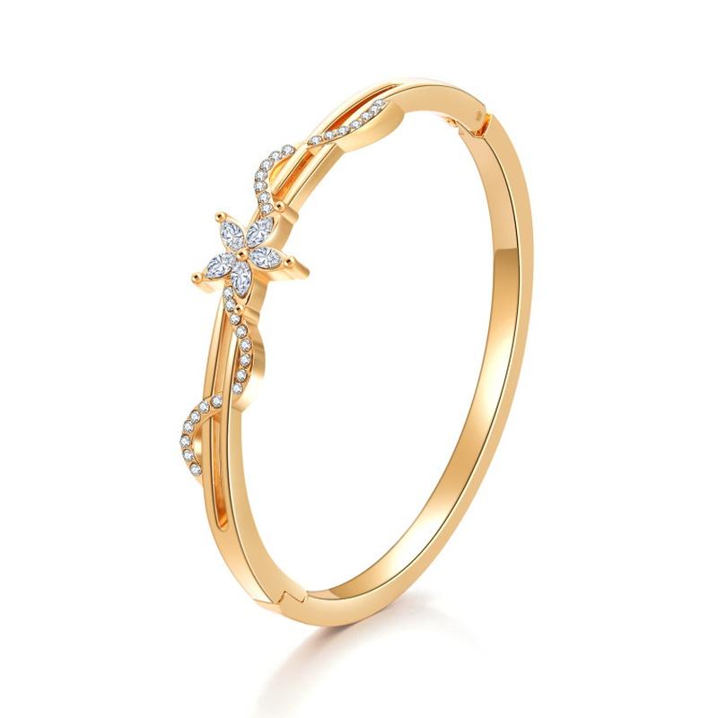 simple flower diamondencrusted alloy bracelet wholesale NHBD367376