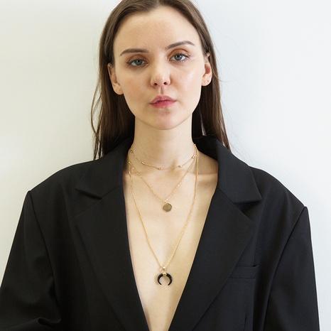 Pendentif en résine de mode collier multicouche en cuivre à paillettes et lune NHRN367383's discount tags