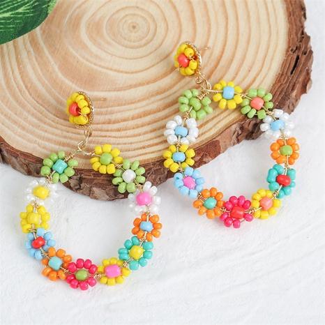 Bohemian style geometric round handmade flower rice bead woven earrings  NHLA367390's discount tags