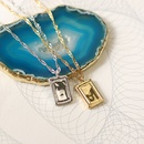 fashion square tin foil pendent water wave chain necklace NHJIF367400