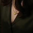 fashion geometric lettering goodluck pendent titanium steel necklace  NHJIF367403