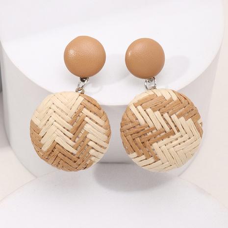 Geometrische runde Ohrringe aus zweifarbigem Bast im böhmischen Stil NHNZ367406's discount tags