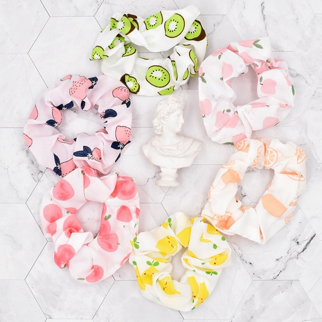 Simple cartoon fruit printing fabric hair rope NHCL367420's discount tags
