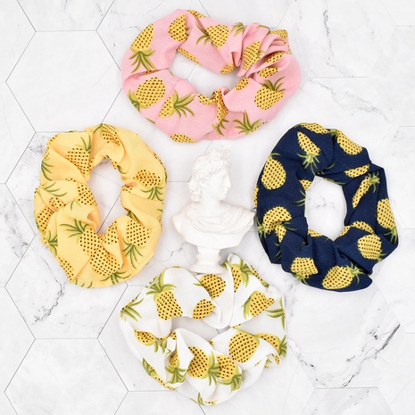Retro Pineapple Fruit Fabric Printed Hair Rope NHCL367424's discount tags