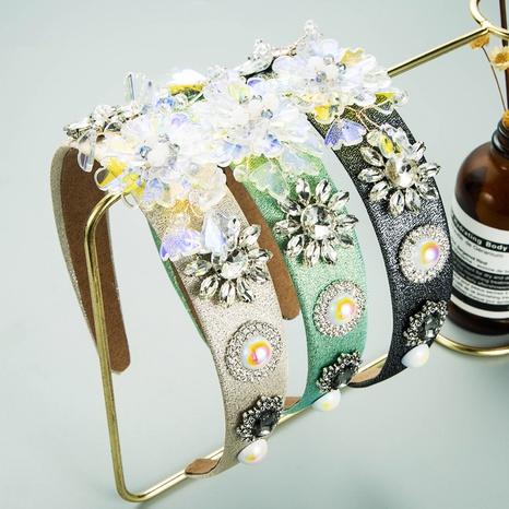 Diadema de tela de ala ancha con flor de diamante de cristal barroco NHLN367429's discount tags