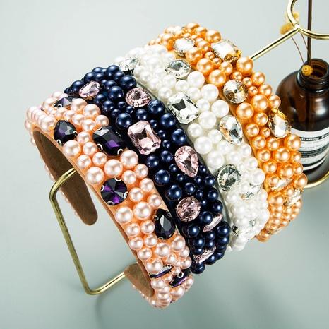 Diadema de ala ancha con diamantes de imitación de perlas estrelladas de nueva moda NHLN367434's discount tags