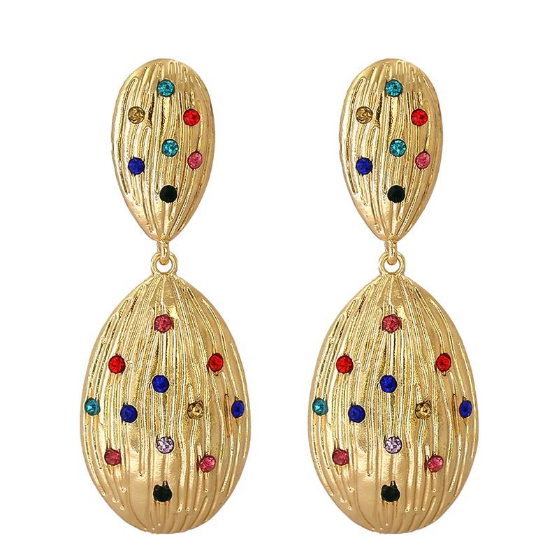 retro geometric dropshaped alloy earrings NHJJ367440