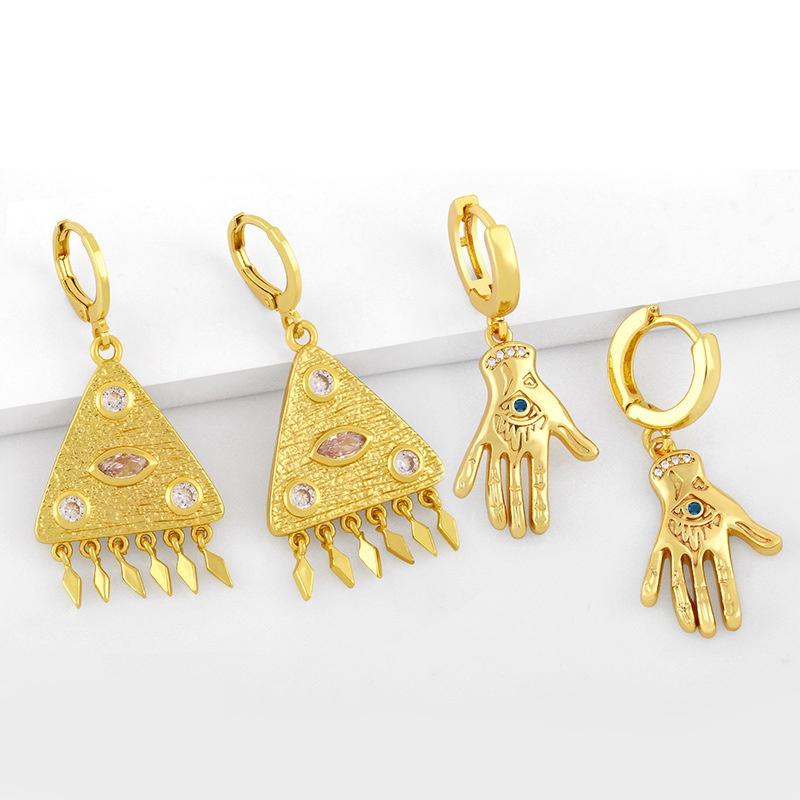 fashion palm eye pyramid tassel earrings NHAS367472