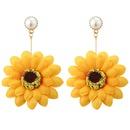 Retro net gauze fabric flower inlaid pearl earrings  NHJQ367477