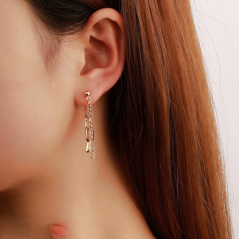 retro design geometric metal copper tassel chain earrings  NHDP367486