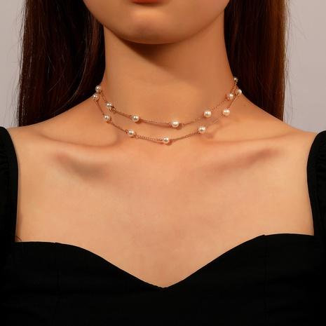 Collier multicouche de chaîne d'épissage de cuivre de perle simple NHDP367489's discount tags