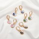 simple round ear buckle gossip metal tai chi earrings  NHDP367491