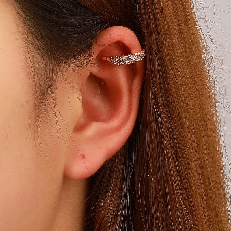 simple geometric zircon metal copper no hole earrings  NHDP367495