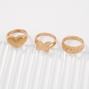 simple alloy heart butterfly geometric ring set NHMD367504