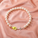 simple large pearl stitching chain short necklace  NHDP367527