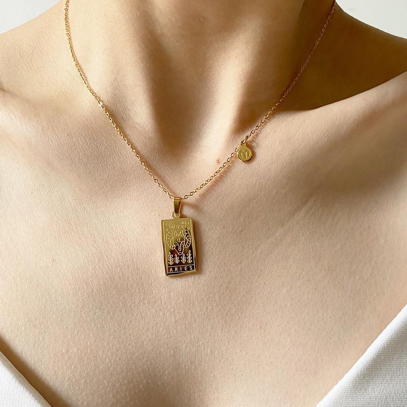 retro 12 constellation square brand pendant necklace NHJIF366104