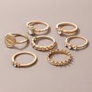 7piece golden diamond crown twist eye rings set NHGY367845