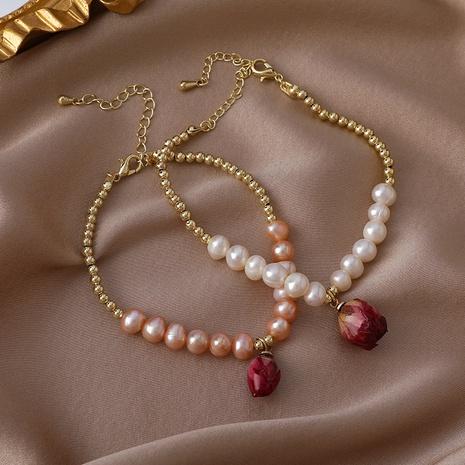 collier de bracelet de perles de perles de fleurs séchées à la main simple NHMS367556's discount tags