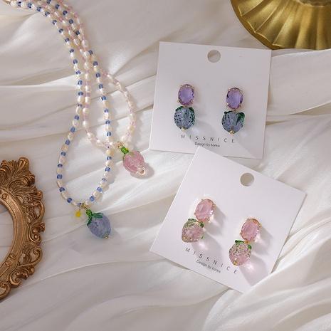 Collier de boucles d'oreilles en cristal transparent à la fraise NHMS367560's discount tags