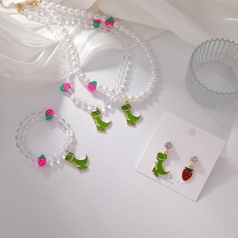 Boucles d'oreilles bracelet collier pendentif dinosaure fraise cristal coréen NHMS367561's discount tags