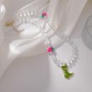 Korean crystal beaded strawberry dinosaur pendent necklace bracelet earrings NHMS367561