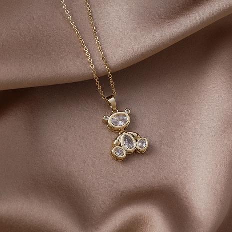 collier de cuivre pendentif ours zircon mode en gros NHMS367569's discount tags