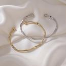 simple wave pattern plain circle open bracelet NHMS367579