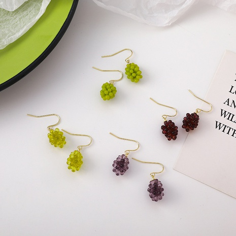 cute creative transparent crystal simulation grape fruit earrings  NHMS367576's discount tags