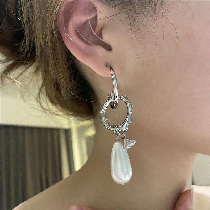 retro asymmetrical pearl multilayer circle ring earrings NHYQ367606