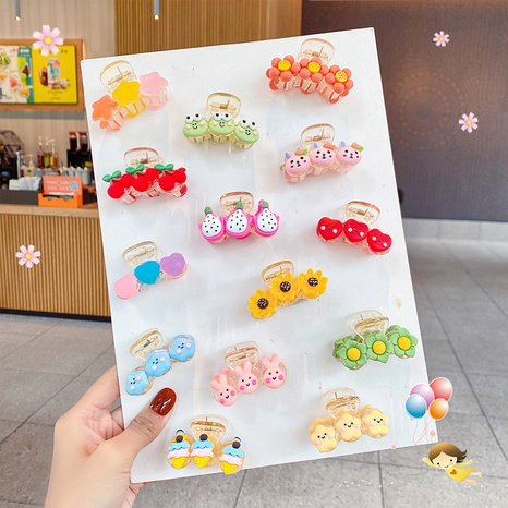 Korean style children's cartoon cute fruit animal scrub star hairpin NHNA367626's discount tags