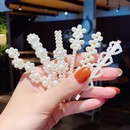 Korean style pearl flower bow set hairpin  NHNA367643