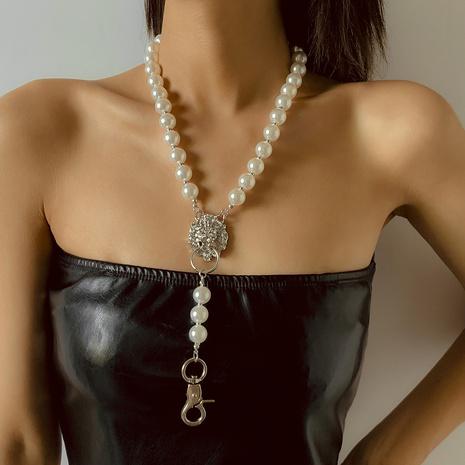 collier de perles en alliage à long pendentif tête de lion hip-hop NHXR367646's discount tags