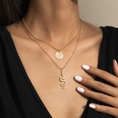 simple pitted round brand dragonshaped tag multilayer necklace  NHXR367667