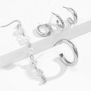 Retro metal halfcurved rhinestones pearl set earrings NHXR367670