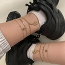 Simple metal dragonshaped tag alloy tassel disc anklet set  NHXR367682