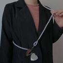 Fashion Metal Heart Mirror Pendant Pearl Crossbody Strap Waist Chain  NHNT367775