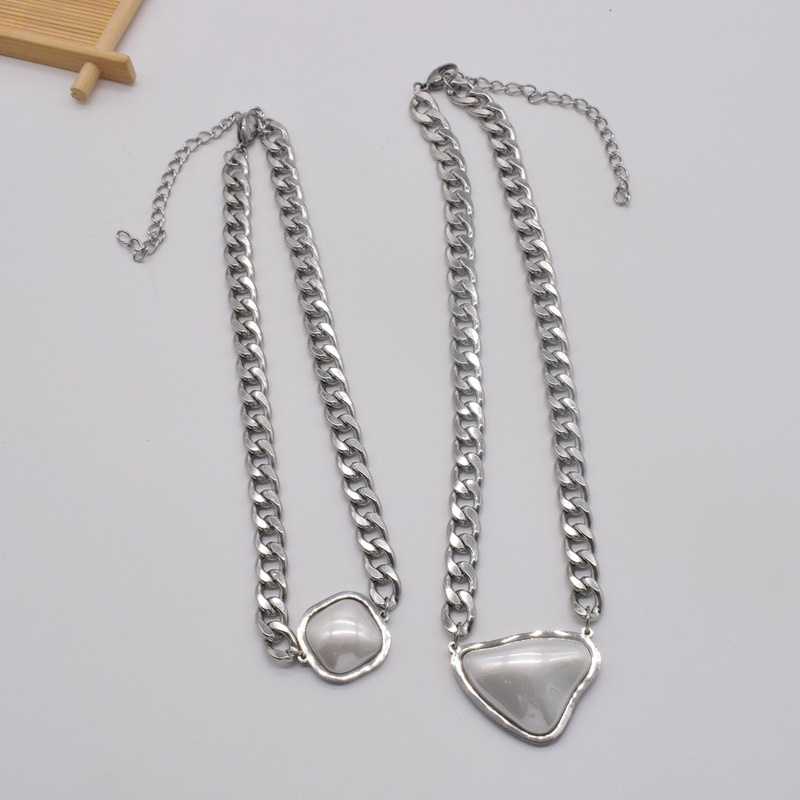 Simple Thick Chain Triangle MotherofPearl Titanium Steel Necklace  NHNT367781