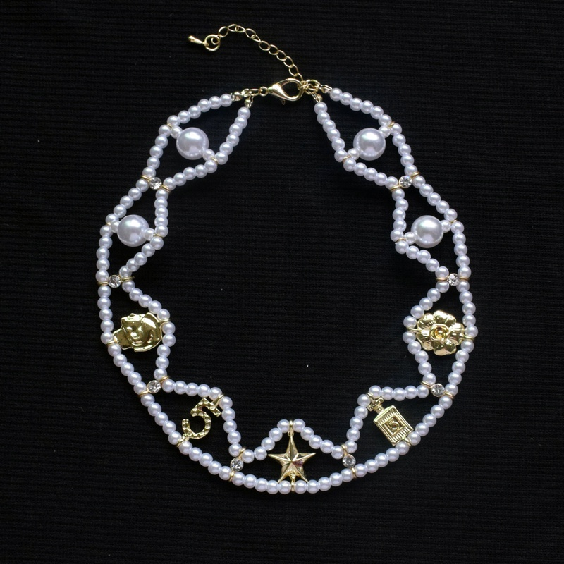 new retro pearl geometric double chain necklace  NHNT367787