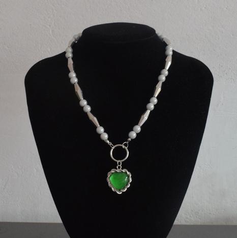 nouvelles boucles d'oreilles collier pendentif coeur vert perle réfléchissante épissage NHNT367792's discount tags