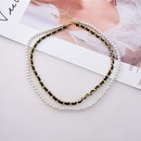 fashion double layered leather braided pearl clavicle chain  NHNT367795