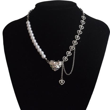 Collier en alliage d'épissage en métal avec perle de coeur de lave punk NHNT367796's discount tags