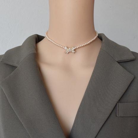 chaîne de clavicule rose géométrique arc perlé de mode NHNT367819's discount tags
