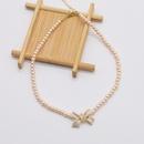 fashion pearl bow geometric pink clavicle chain NHNT367819