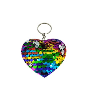 fashion double-sided reflective fish scale PET sequin heart shape pendant keychain   NHDI367829